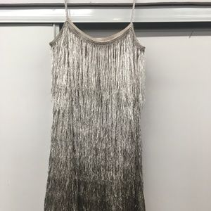 Rachel Zoe Fringe Platinum Dress- NWT Size MED